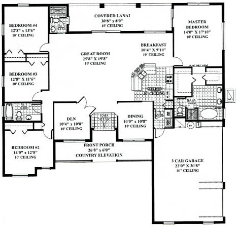 Florida ranch home floorplan