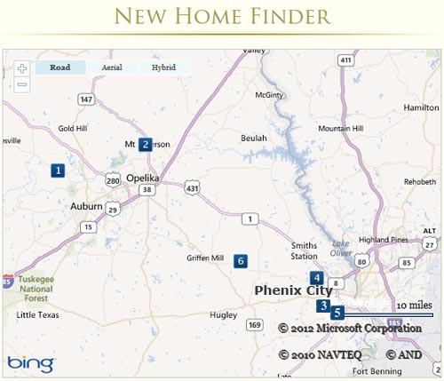 map of eastern Alabama new home communities