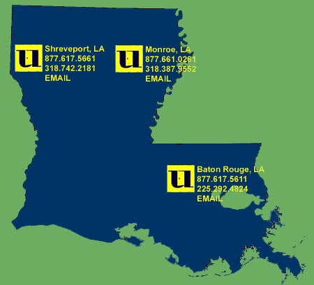 Louisiana builder's service area map